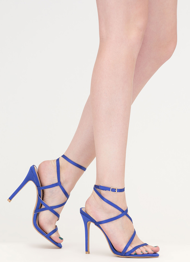 Strappy Happy Caged Satin Heels BLUE