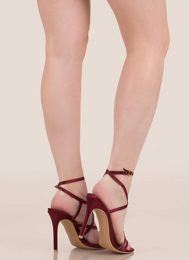 Strappy Happy Caged Satin Heels WINE