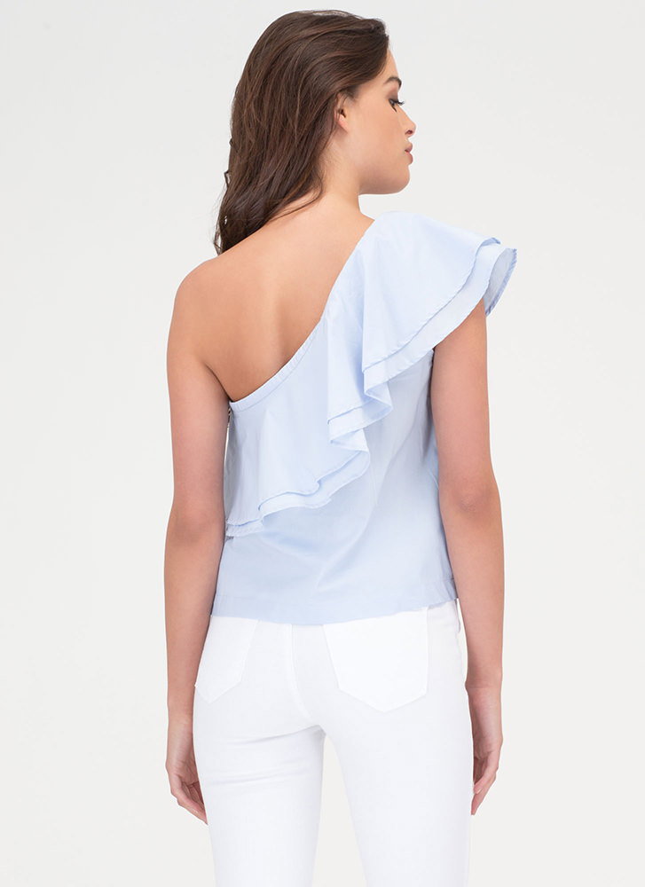 Frill Seeker Ruffled One-Shoulder Top BLUE
