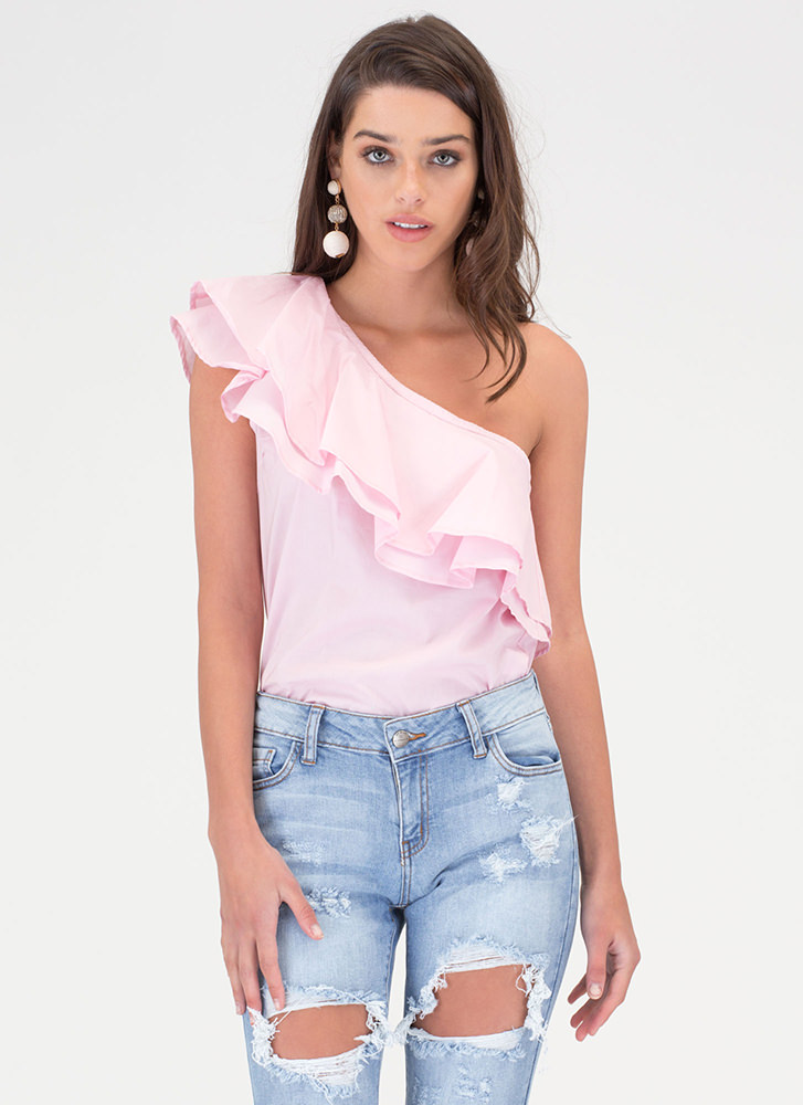 Frill Seeker Ruffled One-Shoulder Top PINK