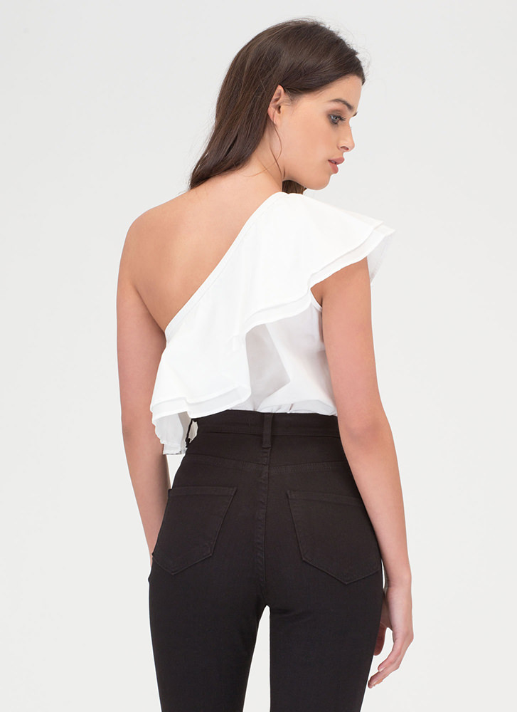 Frill Seeker Ruffled One-Shoulder Top WHITE