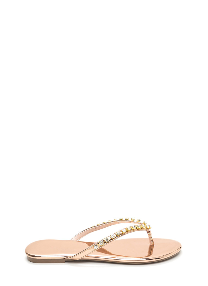 Twinkle Toes Metallic Thong Sandals ROSEGOLD