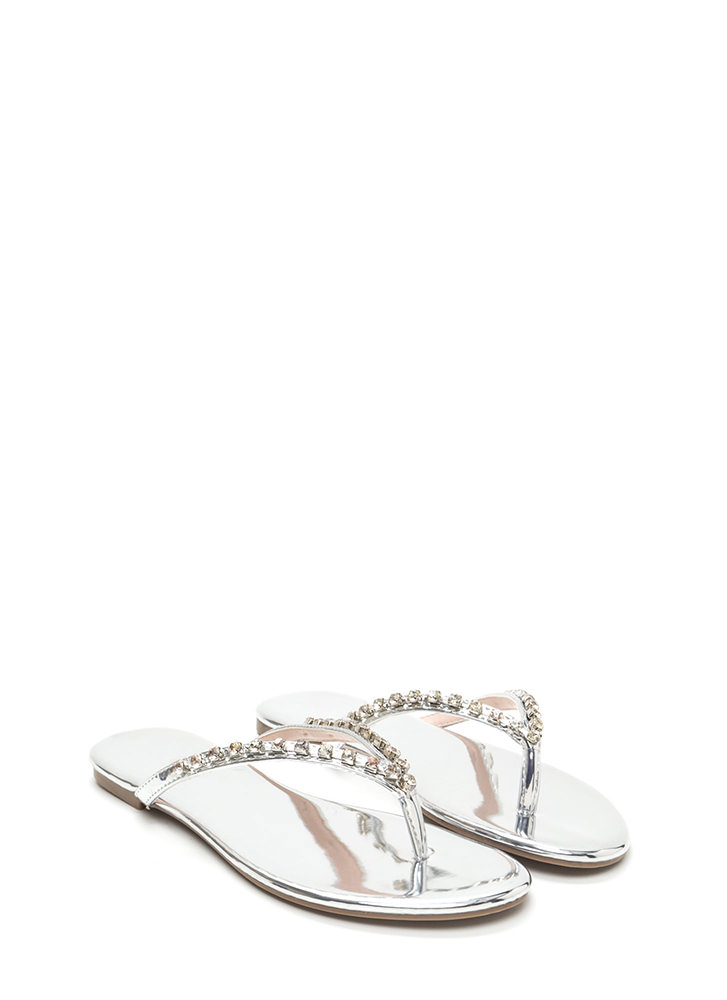 Twinkle Toes Metallic Thong Sandals SILVER