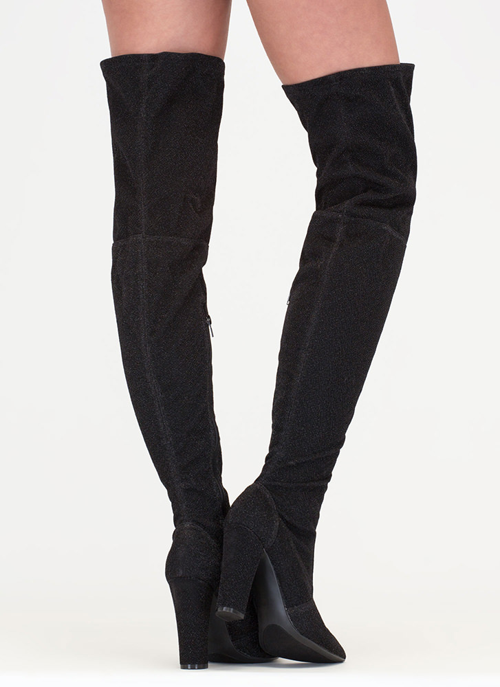 Effortless Glam Shiny Thigh-High Boots BLACK