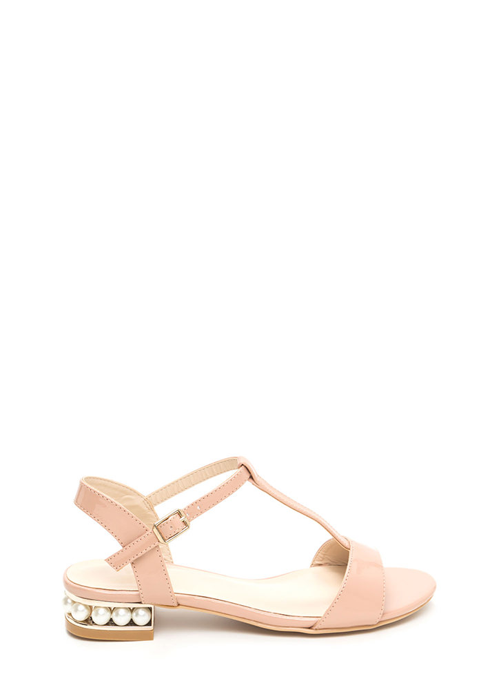 Luxe Good Faux Pearl Faux Patent Sandals by Go Jane
