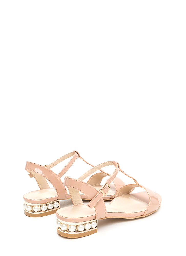 Luxe Good Faux Pearl Faux Patent Sandals NUDE