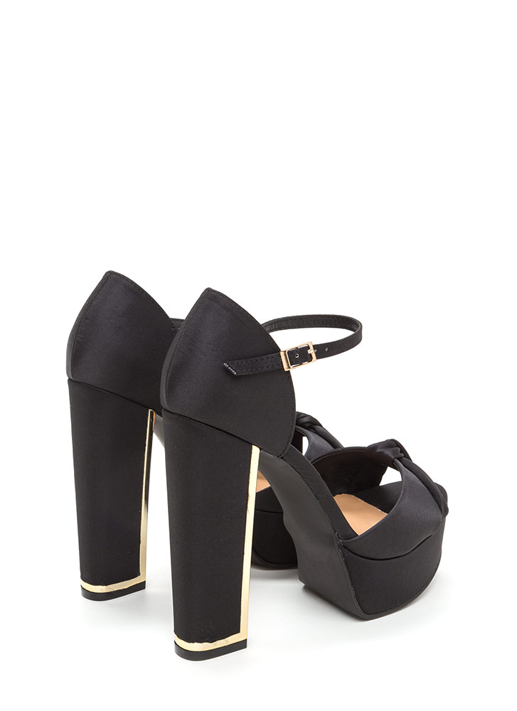 Knot To Worry Chunky Platform Heels BLACK