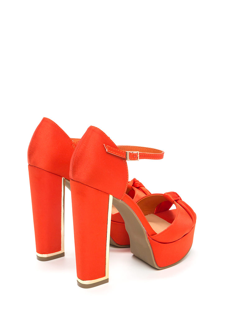 Knot To Worry Chunky Platform Heels ORANGE