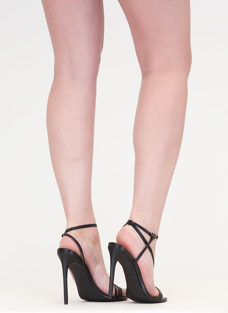 Head Turner Strappy Caged Heels BLACK