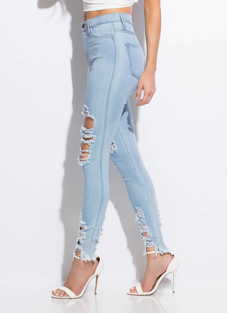 Fray Along High-Waisted Skinny Jeans LTSTONE