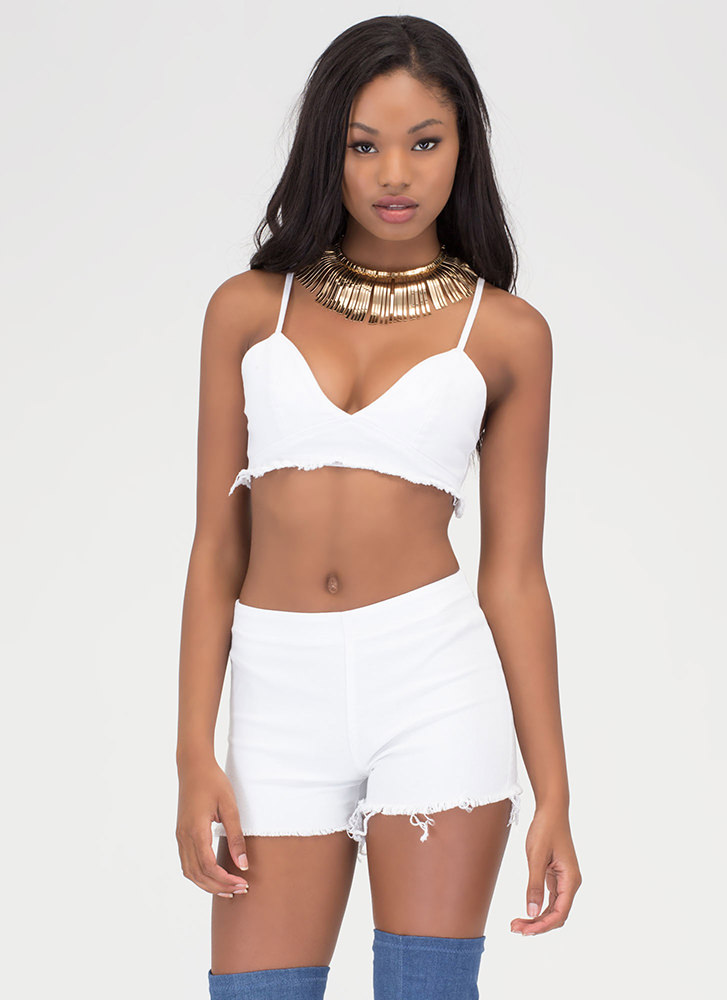 Distressed Brilliance Top 'N Shorts Set WHITE