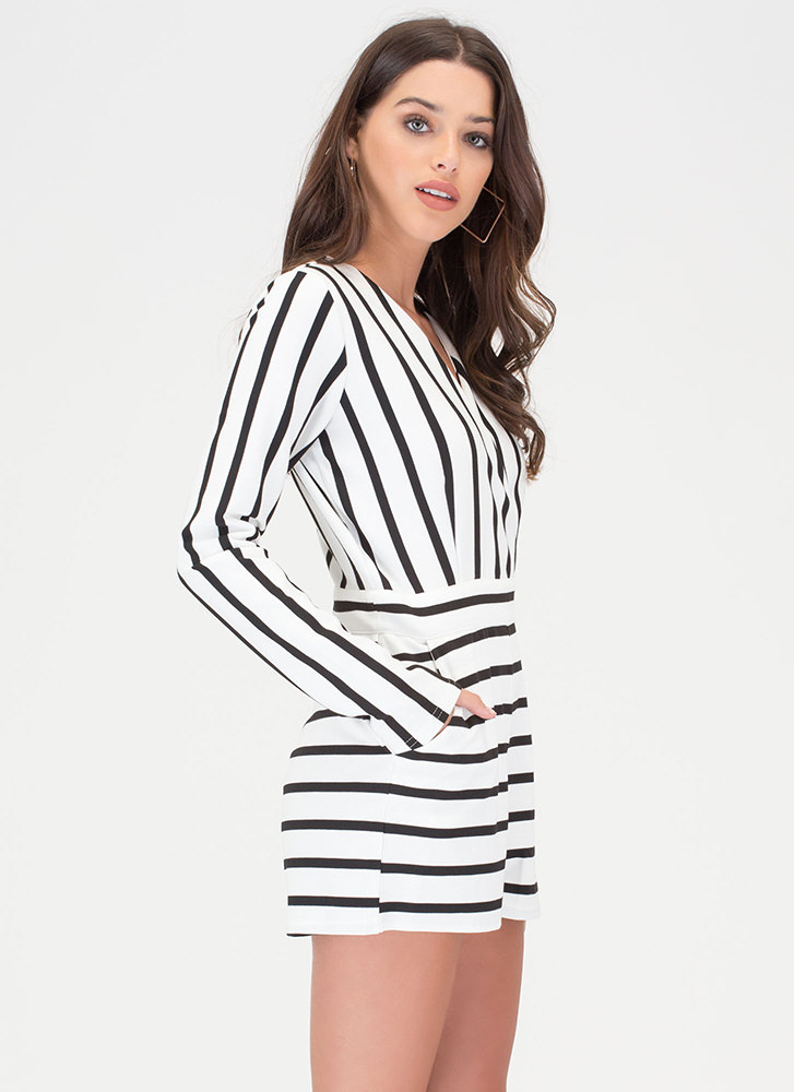 Life Lines Plunging Striped Romper WHITE