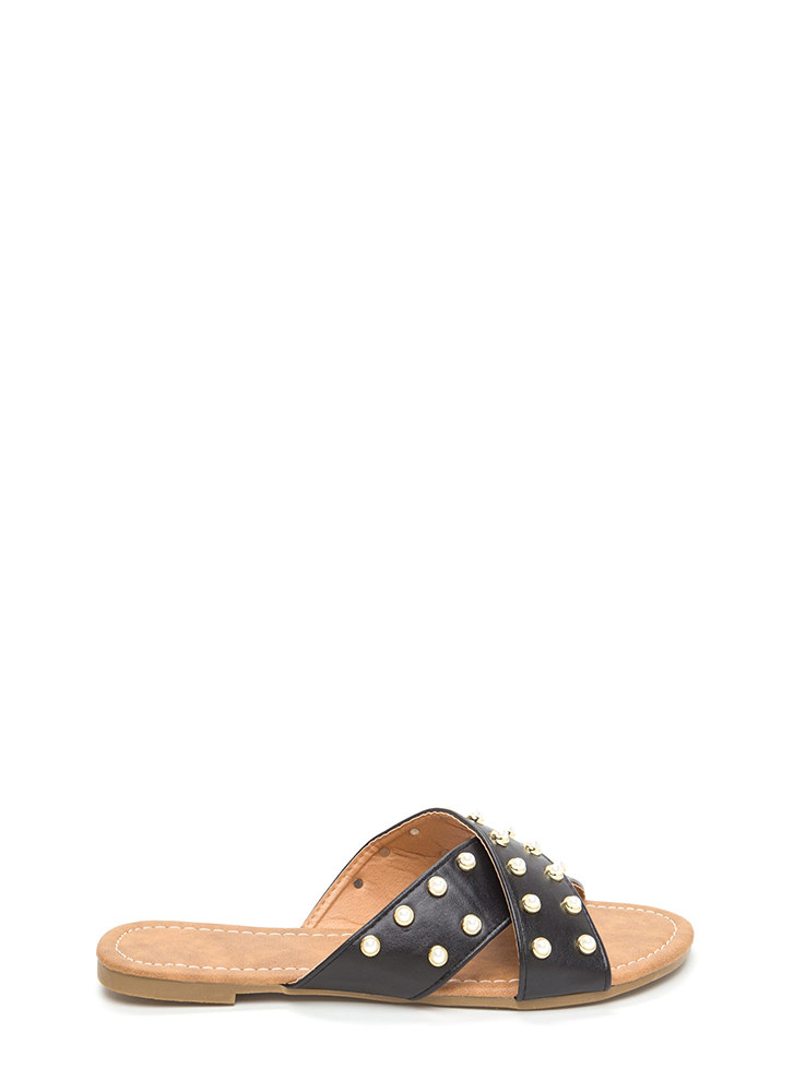 Pearl Girl Crisscross Slide Sandals BLACK