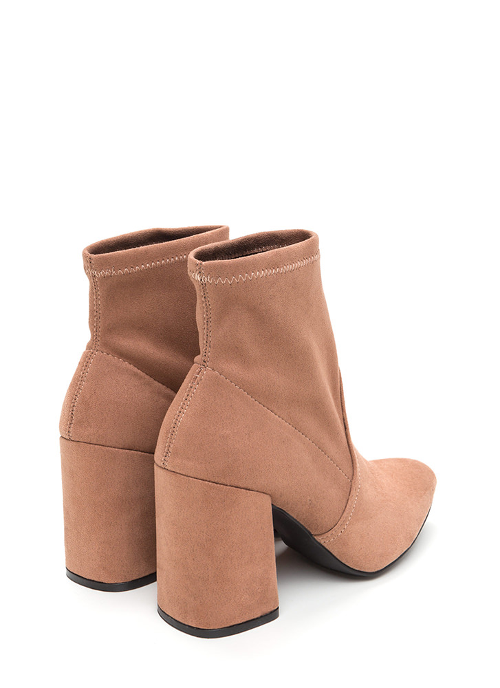 Everyday Chic Pointy Chunky Booties DKBLUSH