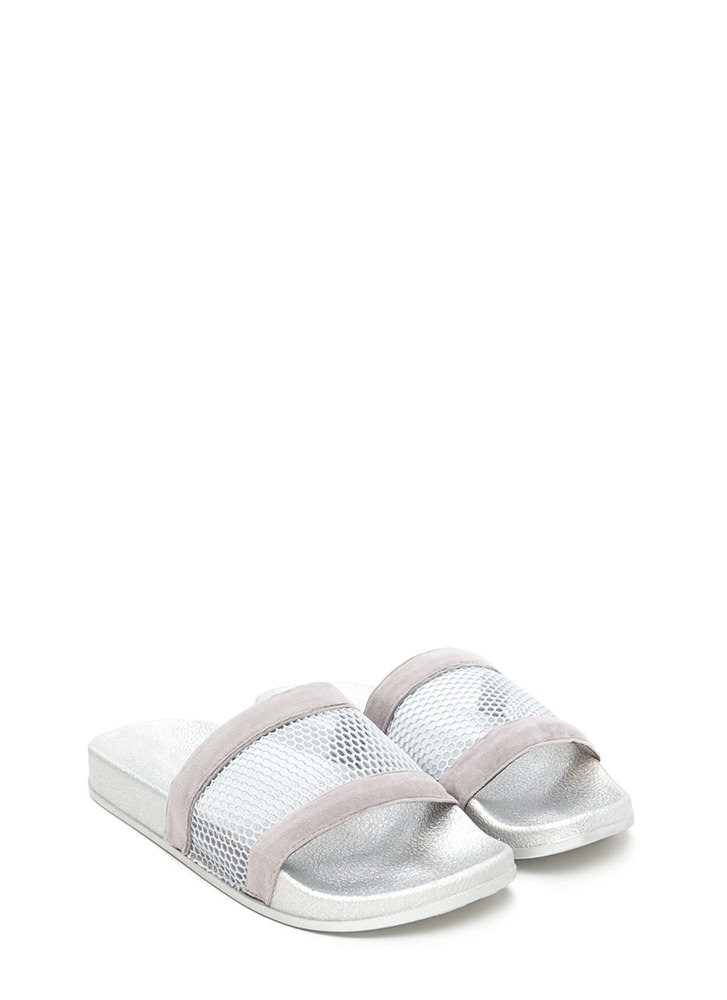 Net Level Sheer Slide Sandals GREY