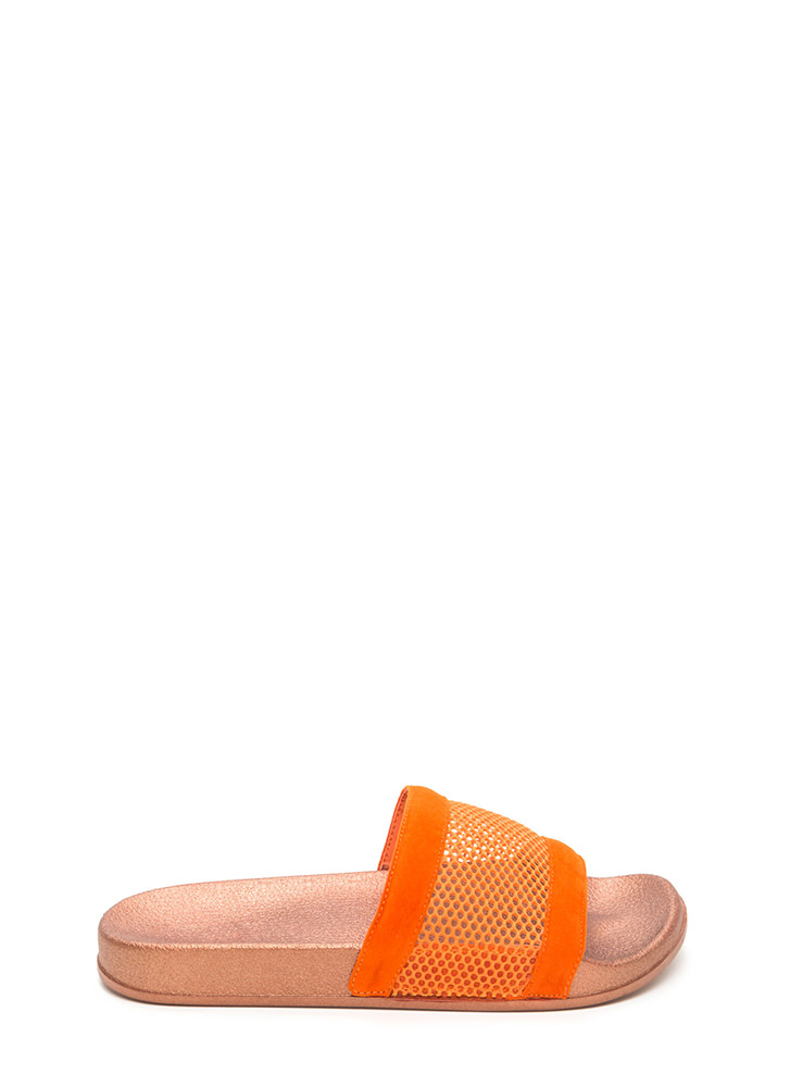 Net Level Sheer Slide Sandals ORANGE