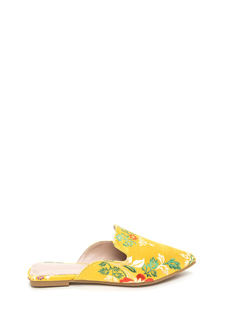 Floral Energy Pointy Satin Mule Flats YELLOW