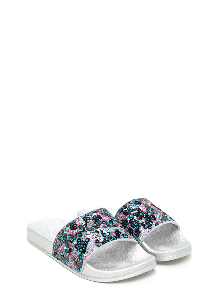 Glitz For You Sequined Slide Sandals BLUE