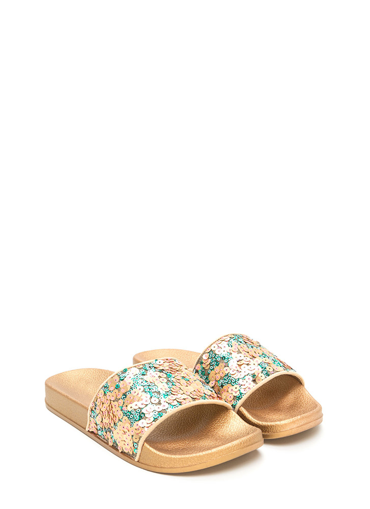Glitz For You Sequined Slide Sandals GOLD