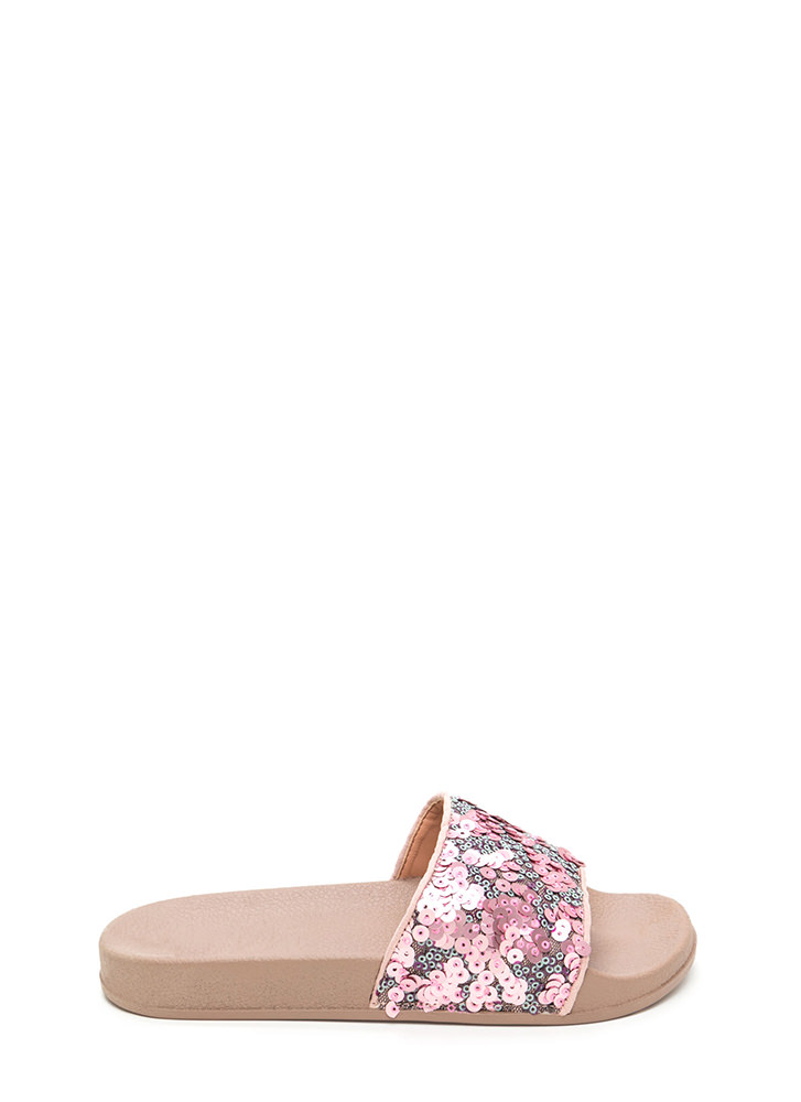 Glitz For You Sequined Slide Sandals PINK