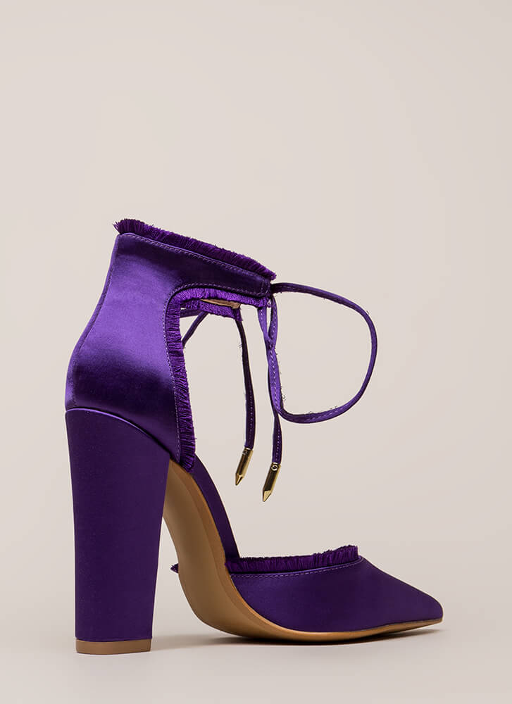 Fab Fringe Pointy Chunky Satin Heels PURPLE