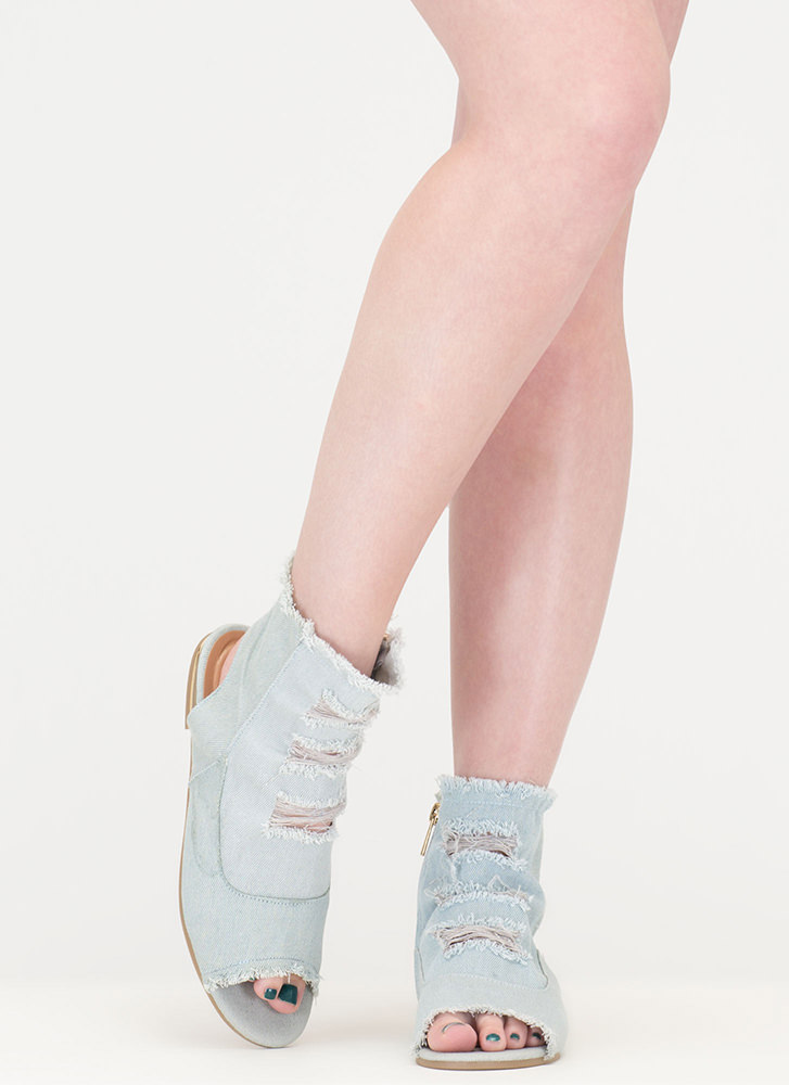 Shred-y To Go Cut-Out Denim Sandals LTBLUE