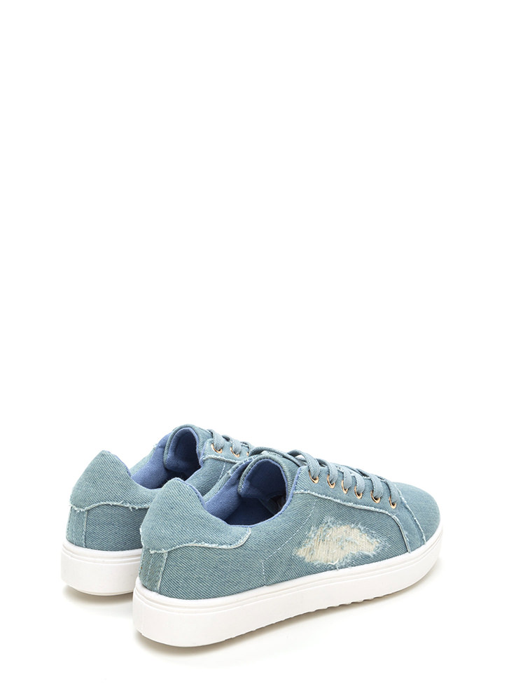 Cool Girl Denim Lace-Up Sneakers LTBLUE
