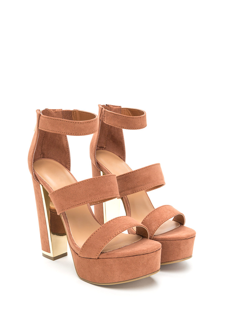 Three Time Chunky Faux Suede Heels MOCHA