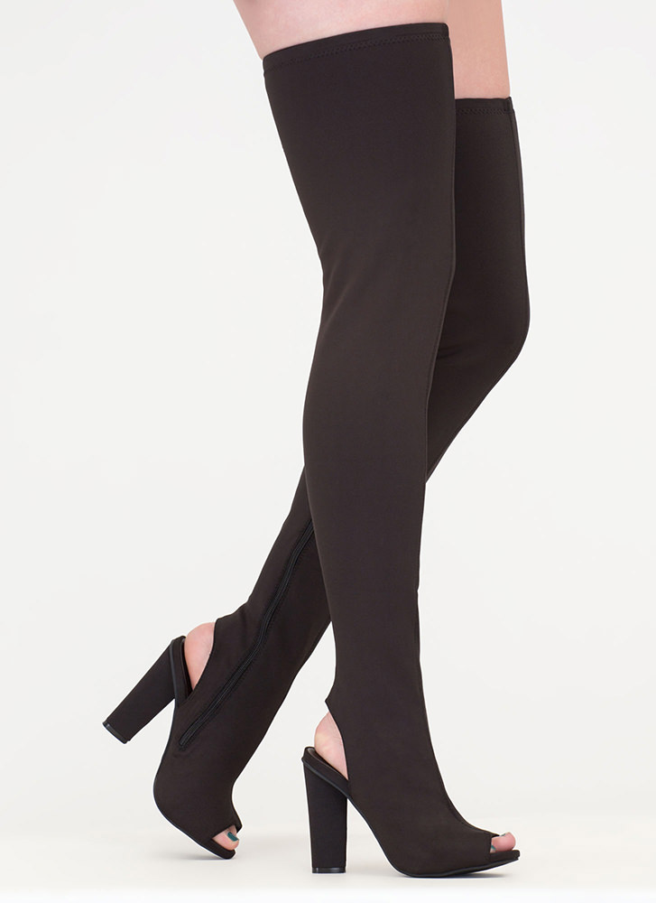 Sleek Profile Chunky Thigh-High Boots BLACK
