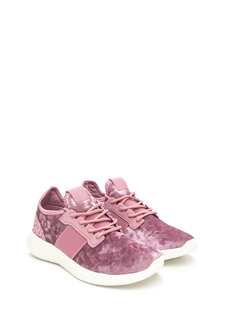 Serious Crush Velvet Lace-Up Sneakers MAUVE
