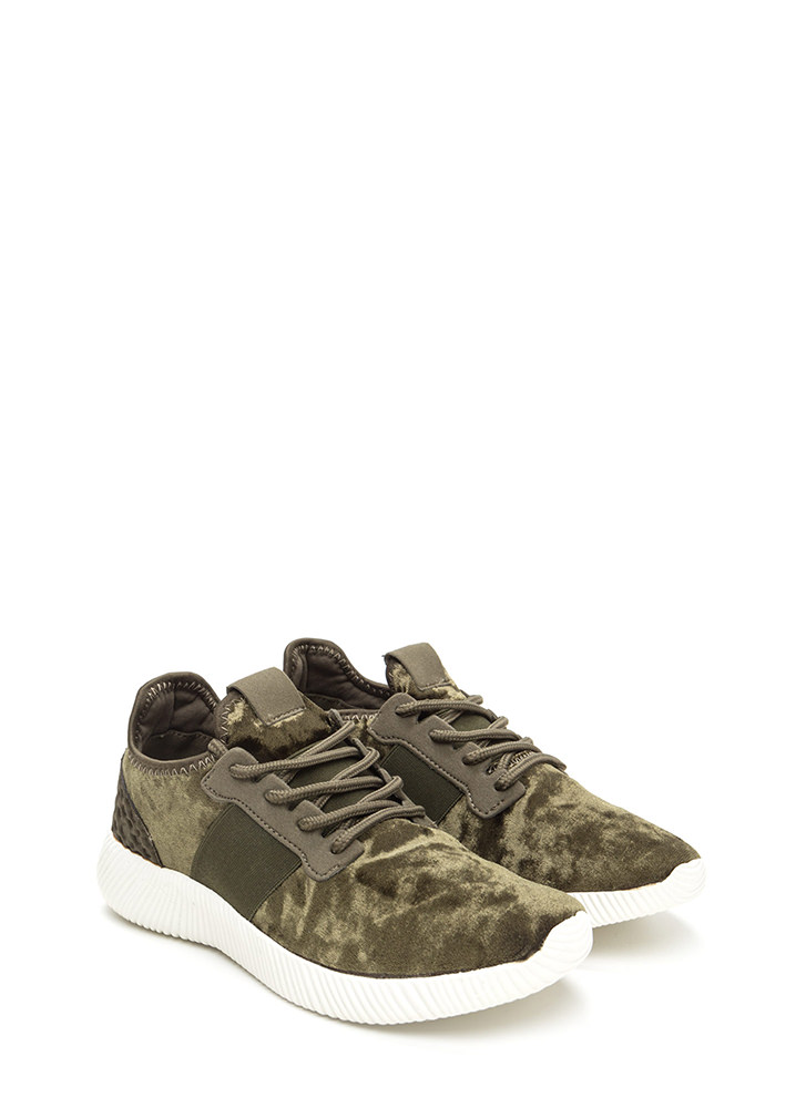 Serious Crush Velvet Lace-Up Sneakers OLIVE