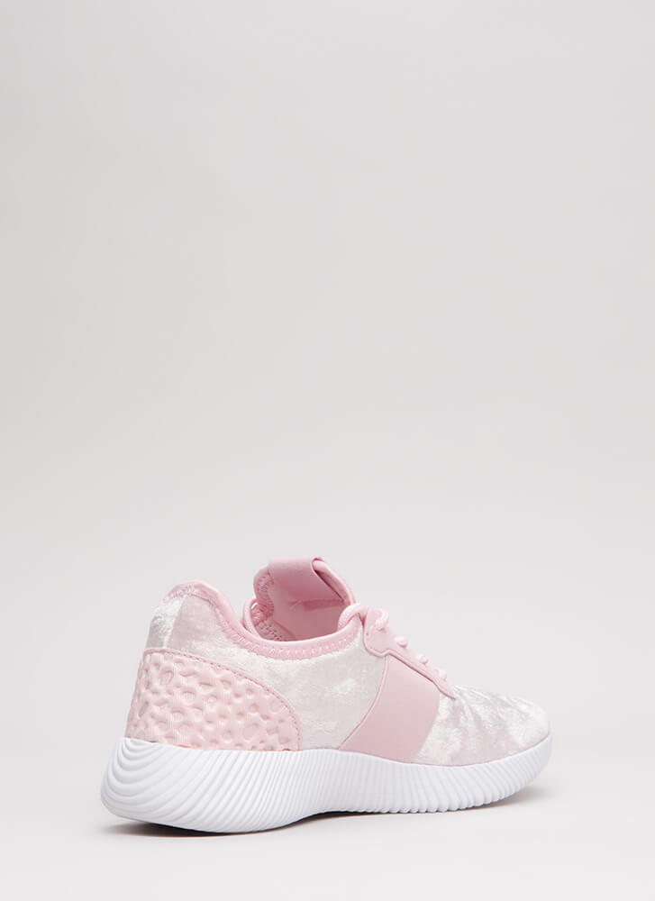 Serious Crush Velvet Lace-Up Sneakers PINK