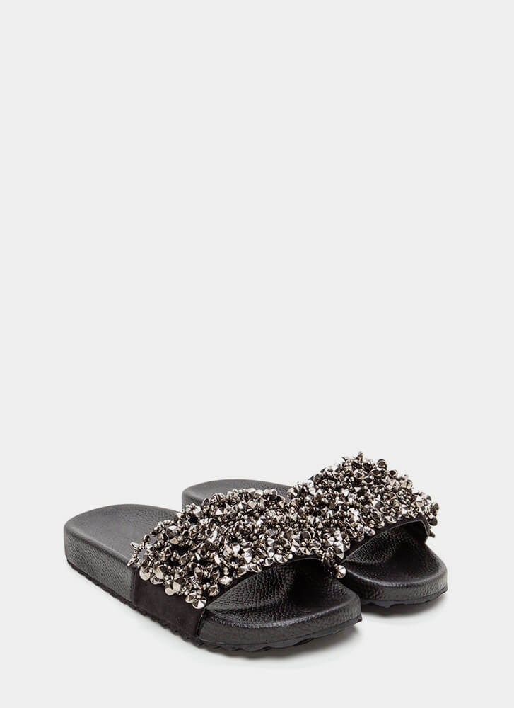Glitz Lit Embellished Slide Sandals BLACK