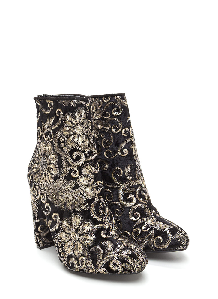 Glam Blooms Pointy Chunky Velvet Booties BLACK