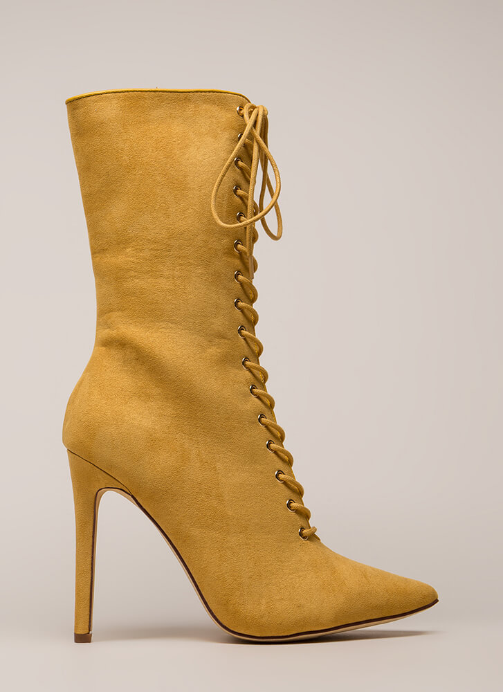 See Your Point Faux Suede Booties CAMEL (Final Sale)