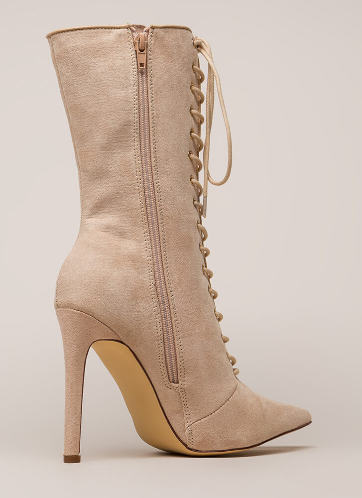 See Your Point Faux Suede Boots NUDE