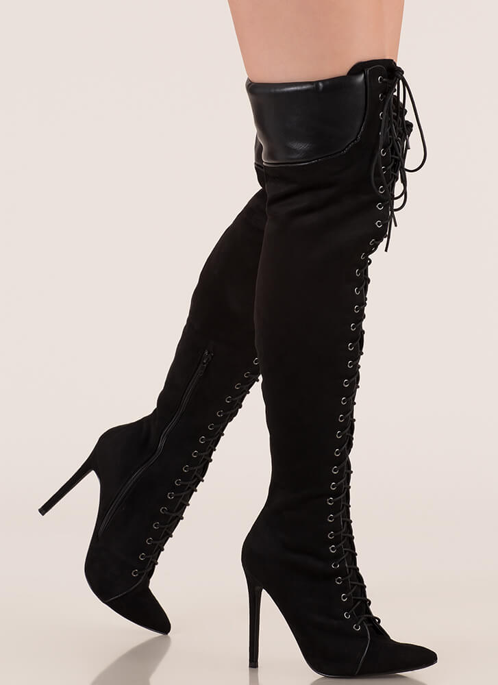 Statement Strut Lace-Up Thigh-High Boots BLACK