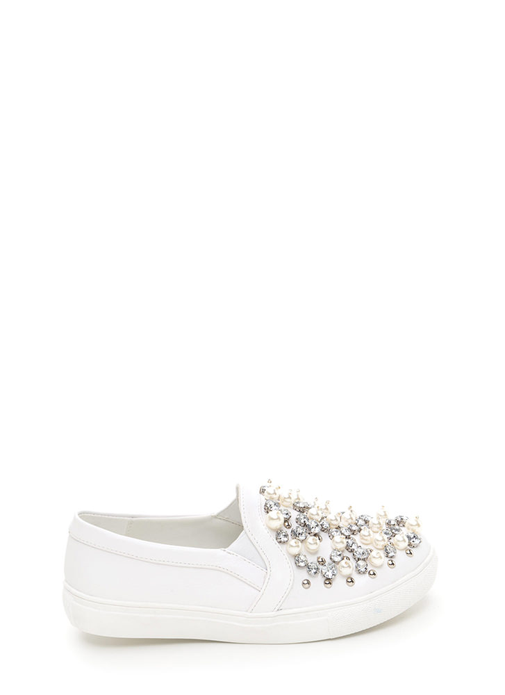 Treasure Chest Faux Leather Sneakers WHITE
