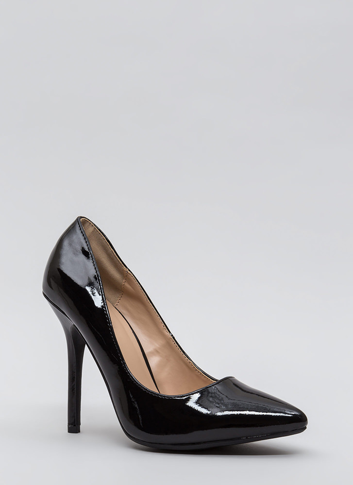 Make A Point Faux Patent Pumps BLACK