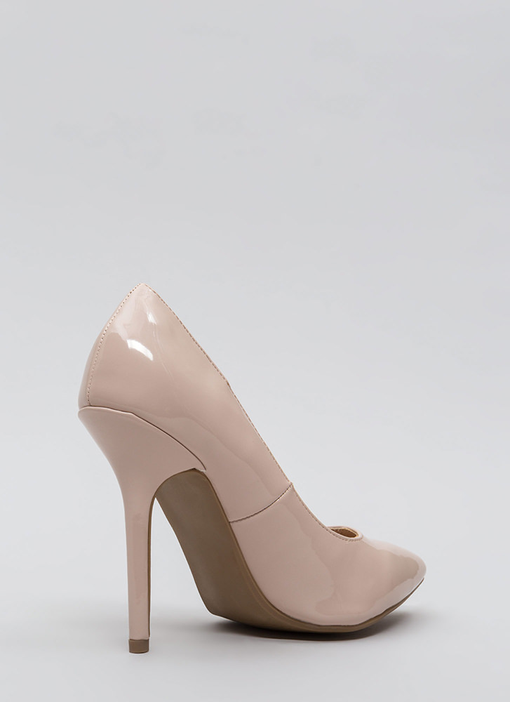 Make A Point Faux Patent Pumps NUDE