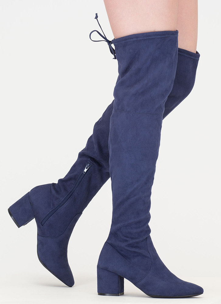 Around The Block Pointy Thigh-High Boots NAVY