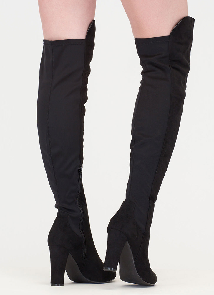 Impeccable Style Chunky Thigh-High Boots BLACK