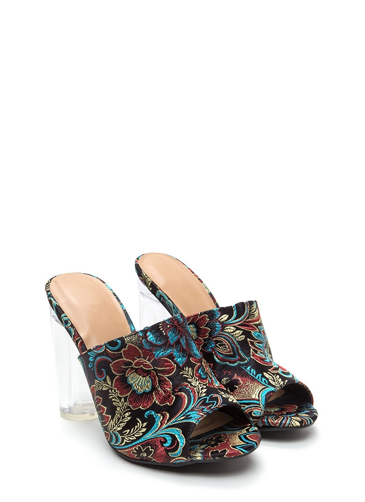 Go With The Floral Chunky Mule Heels BLACK