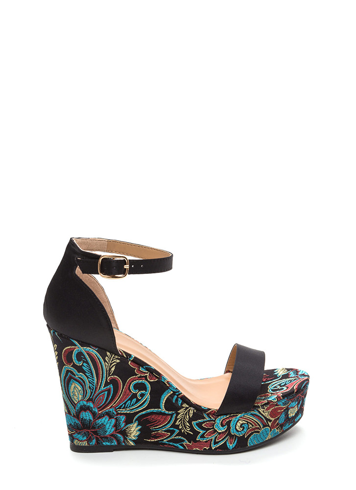 Fresh Flowers Satin Platform Wedges BLACK