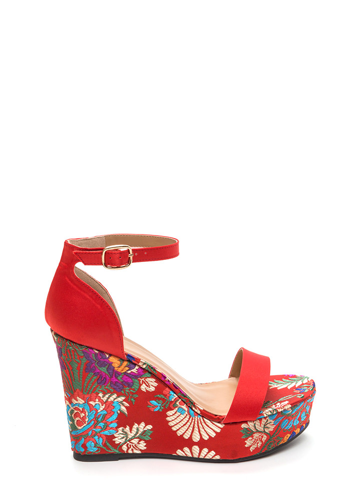 Fresh Flowers Satin Platform Wedges RED