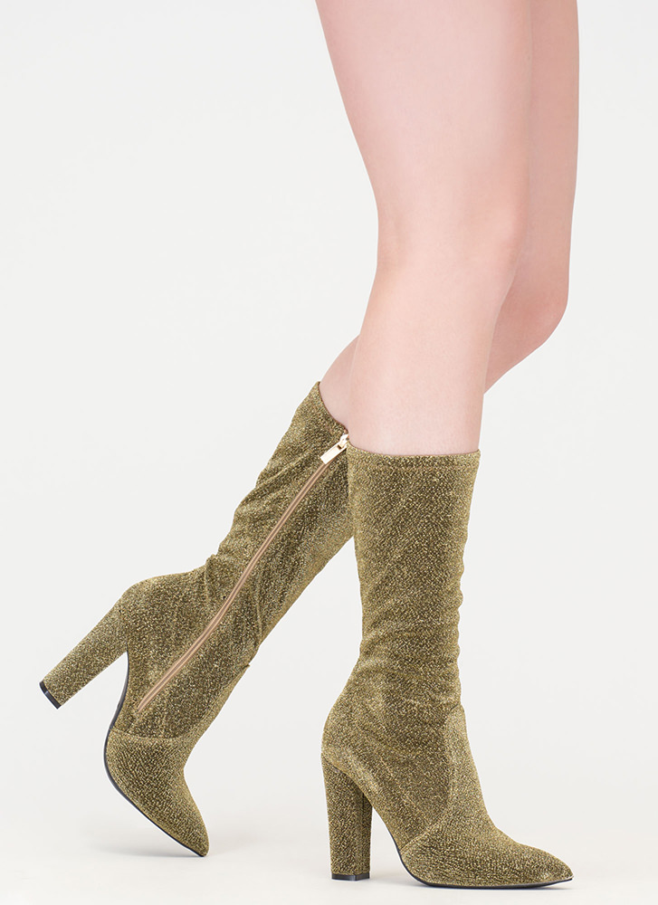Glitz 'N Glam Pointy Chunky Boots GOLD