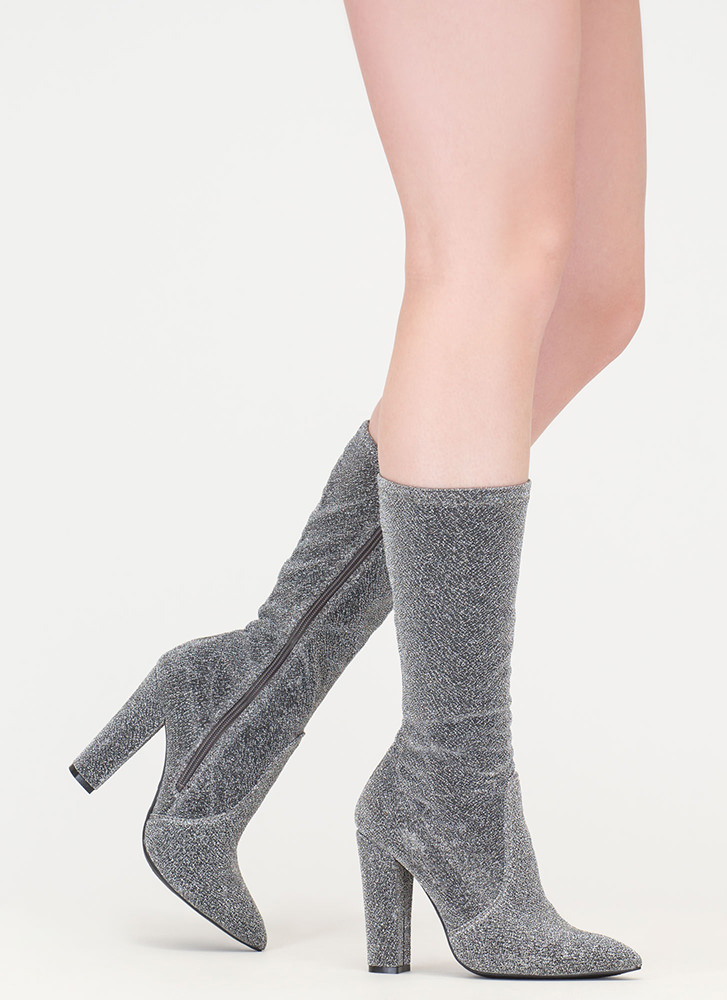 Glitz 'N Glam Pointy Chunky Boots SILVER