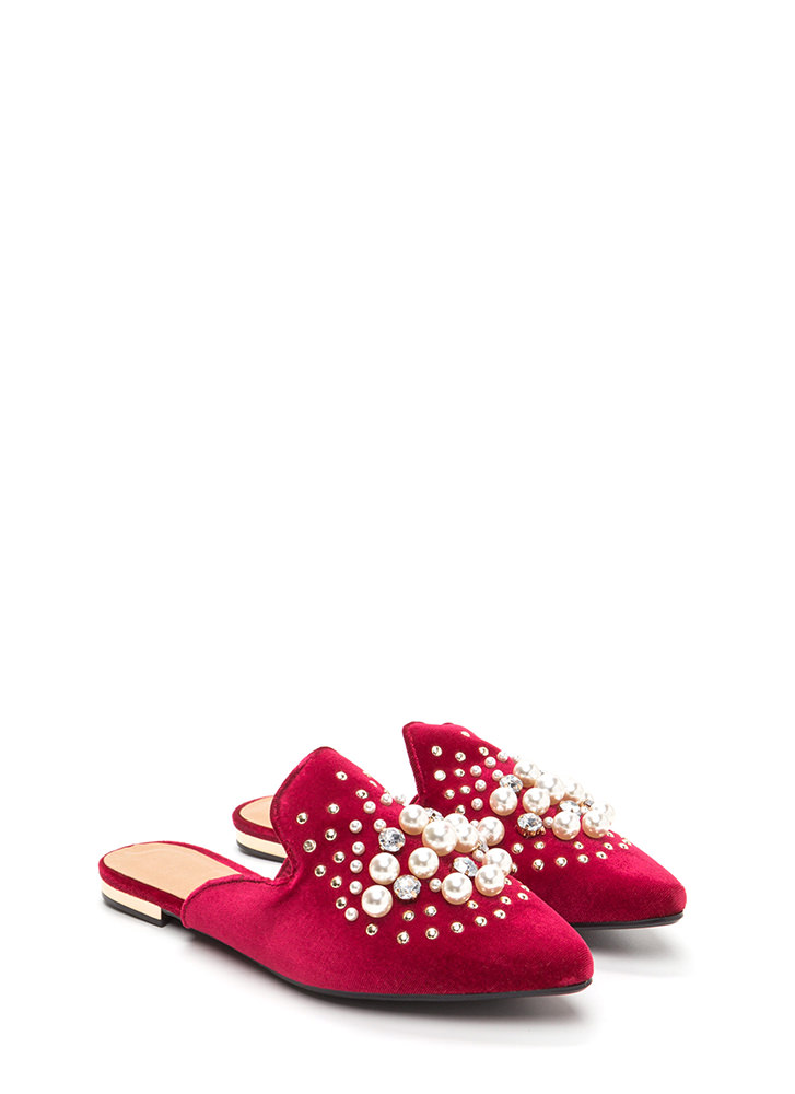 Life Of Luxury Jeweled Velvet Mule Flats RED