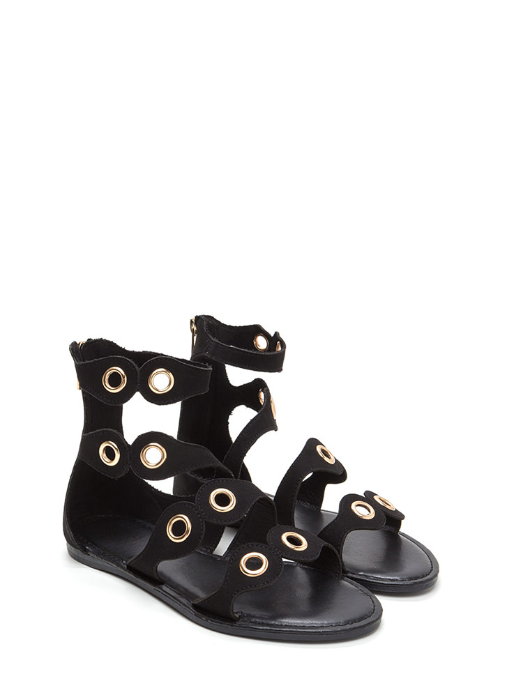 Warrior In Training Faux Suede Sandals BLACK