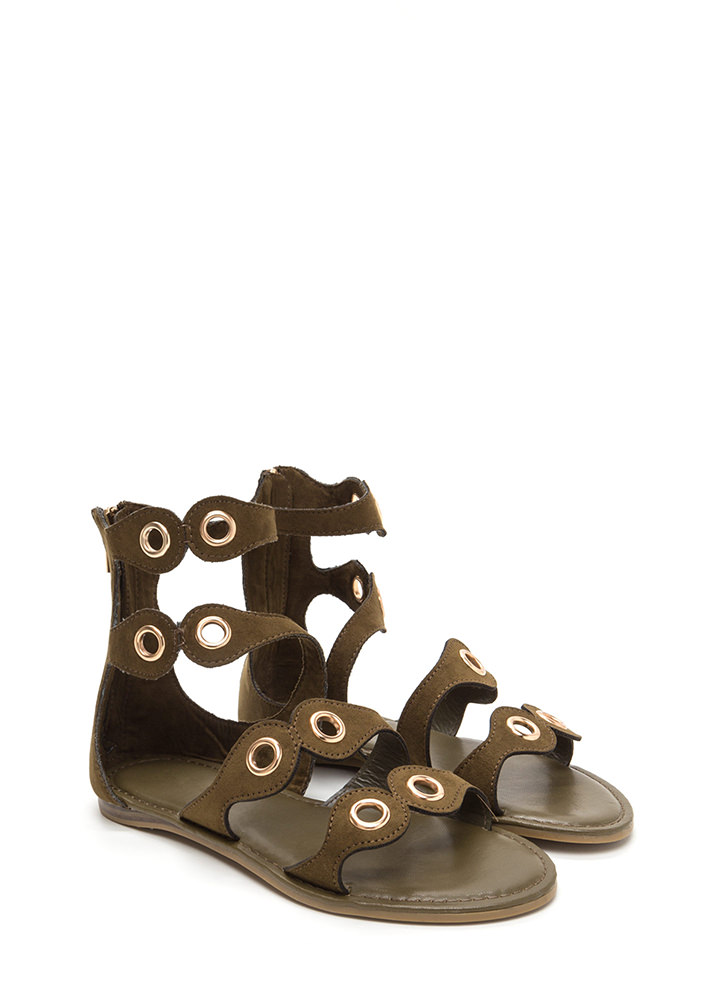 Warrior In Training Faux Suede Sandals OLIVE